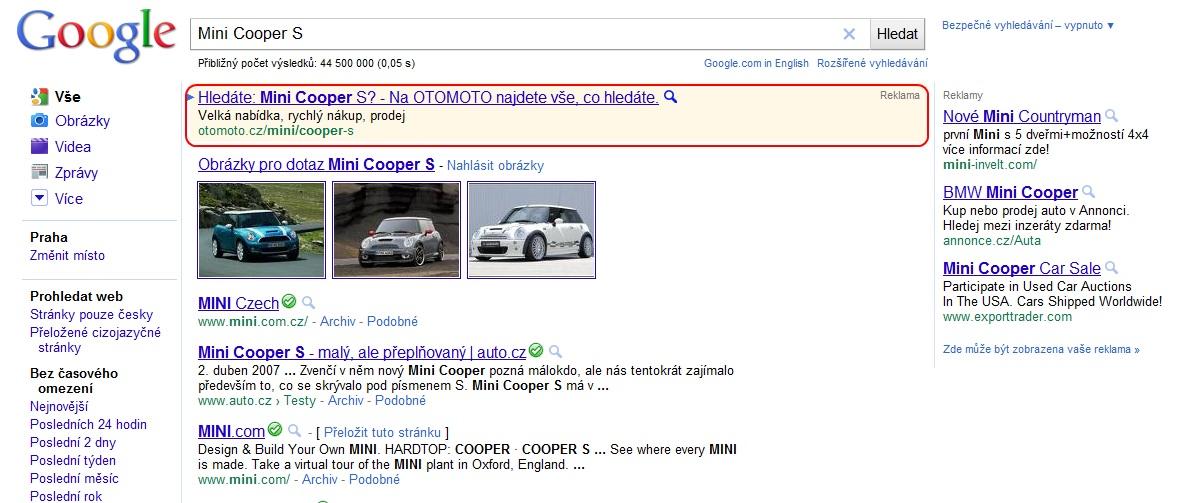 Mini Cooper S - klamavá reklama Otomota na Googlu