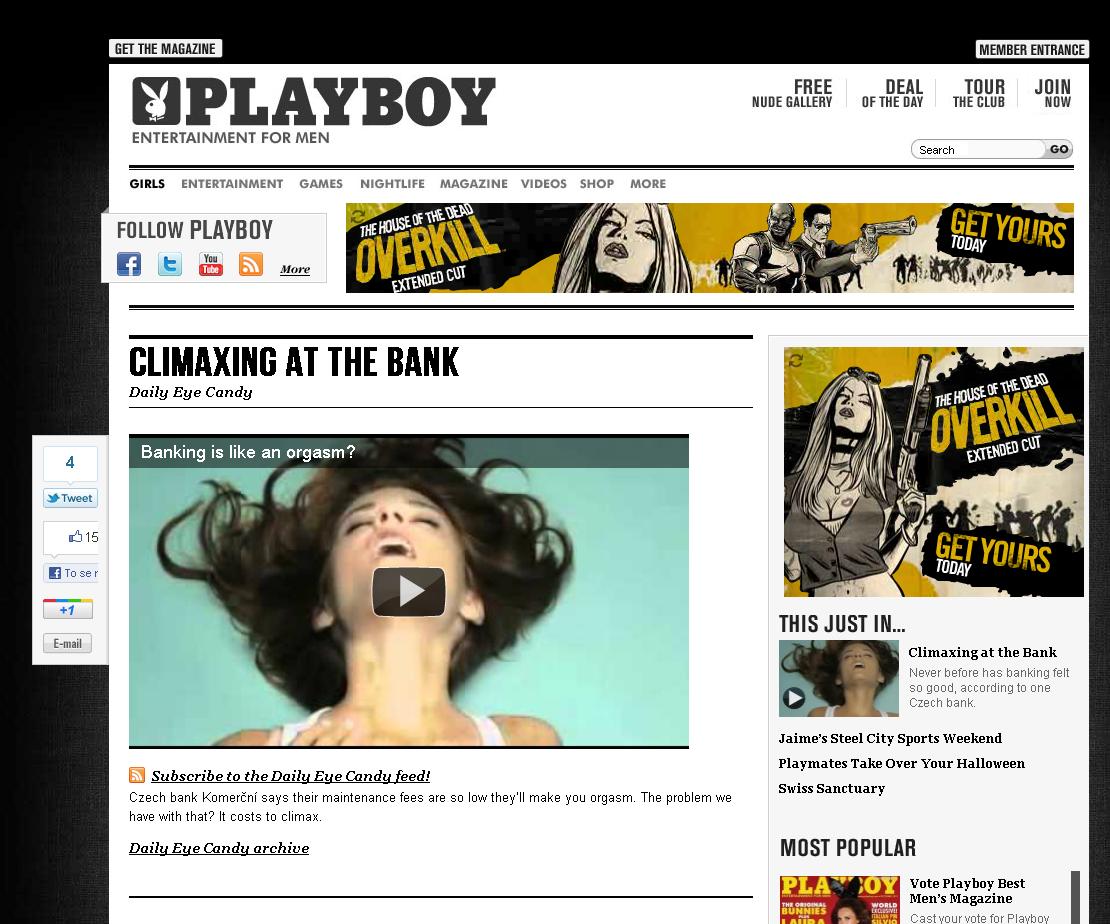Reklama Komerční banky na stránkách Playboy.com