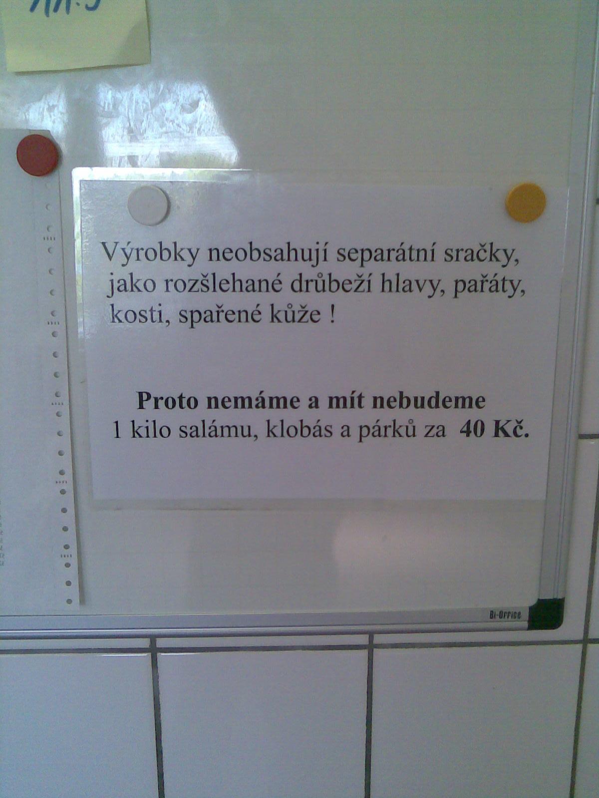 Cedule u řezníka v Ostravě