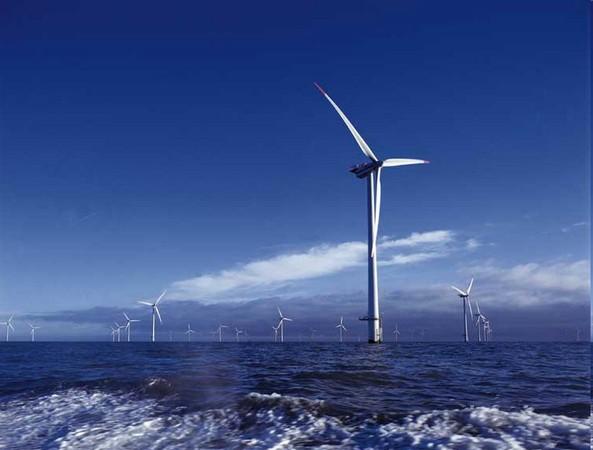 Větrná farma u pobřeží